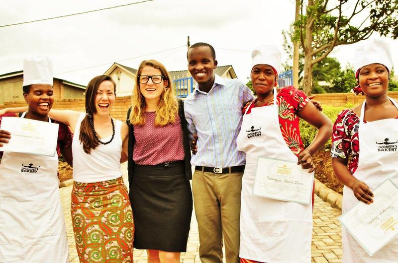 image of julie with the first The women's Bakery group in Rwanda