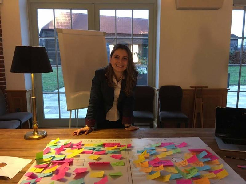 Daniela while doing a value proposition workshop for the wine producer team
