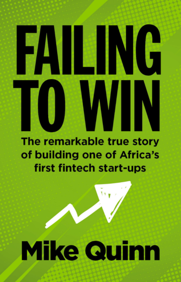 green book cover with spotted background, with bold black text 'failing to win' by Mike Quinn